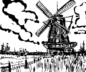black and white windmill scene