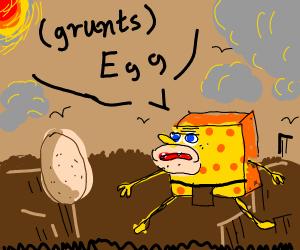 Caveman SpongeBob discovers egg