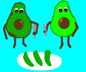 two avocados eating an avocado