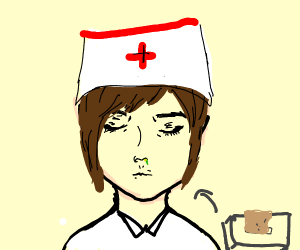 Nurse needs to blow her nose