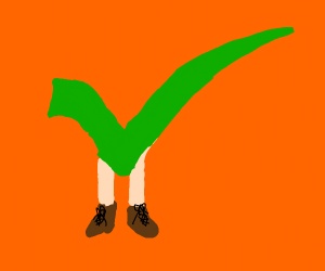 Green checkmark with legs and shoes