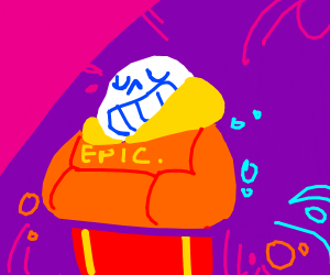 """Sans is wearing a hoodie that says """"epic"""""""
