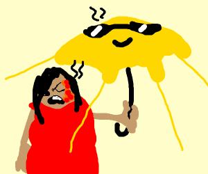 An umbrella but it's also the sun