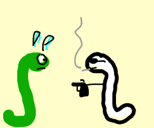 Green worm assaulted by OREO worm