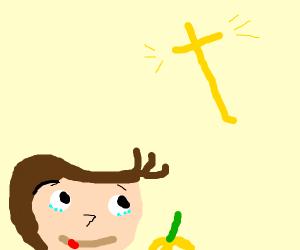 Curious George contemplates Jesus