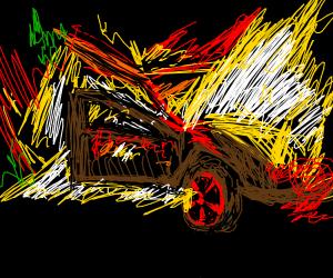 a car on fire