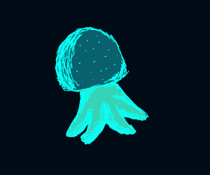 jellyfish in the deep dark ocean