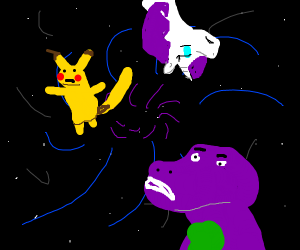 Pikachu barney and littlepony in endless void