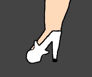 white high heel shoe that looks like a guitar