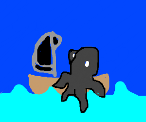 a octopus on a boat