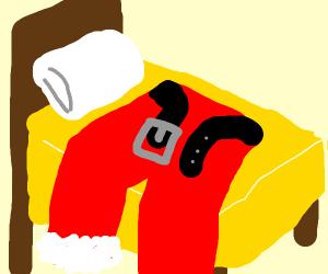 Santa's pants in a bed