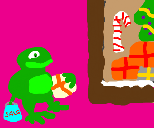 Frog getting presents for christmas