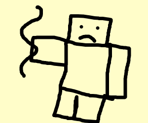 Very 'blocky person' hold a black squiggle