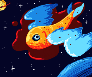 Bloody space fish with wings