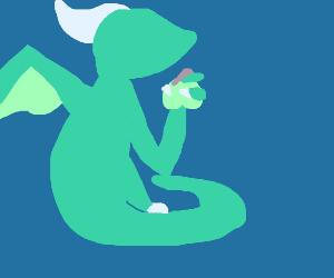 Dragon holding an apple