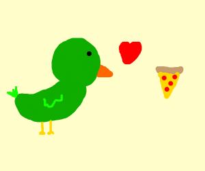 green bird loves pizza