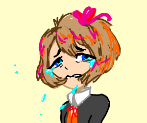 Sad anime girls tears are coming out