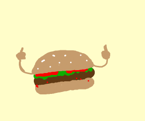 Angry hamburger flipping you off
