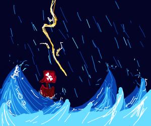Stormy Night Pirate Ship