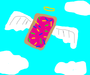an angel poptart flying above people