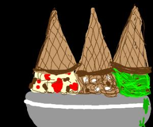 triple icecream cone bowl thing