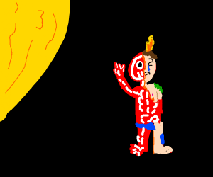 small child burning alive in the sun