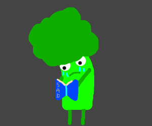 Broccoli reads depressing book