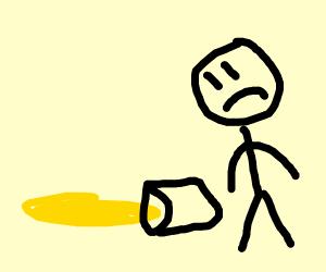 I spilled lemonade on the floor!