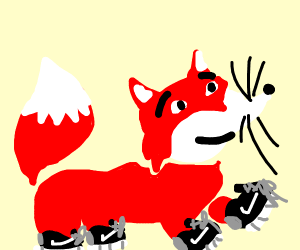 Red fox wearing 4 Nike shoes