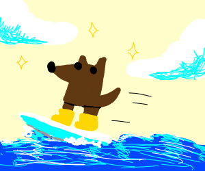 Talented dog wearing yellow boots is surfing