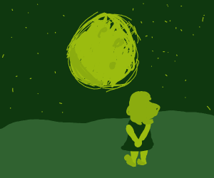 A girl standing at night staring at the moon