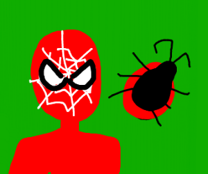 Spider man with a bug
