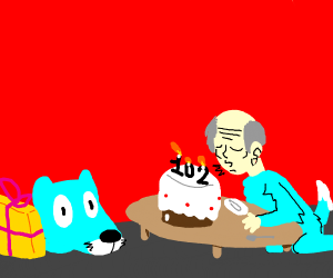 Elderly asian furry celebrates their birthday