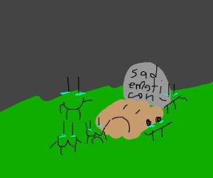 sad emoticon funeral