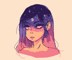 a girl as the night sky