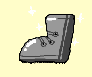 shiney metal boot