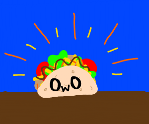 Mexican taco with OwO face
