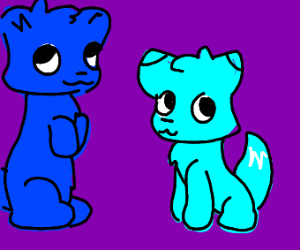 Google-eyed blue bear and blue fox