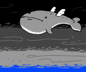 Whale flies about the storm