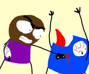 boy w/ broken arm stabs blue screaming thing