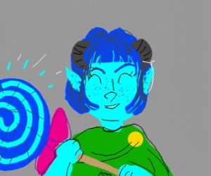 Glowing blue lollipop