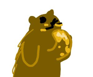A bear enjoying honey