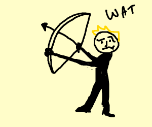 Confused man tries shooting a bow and arrow b