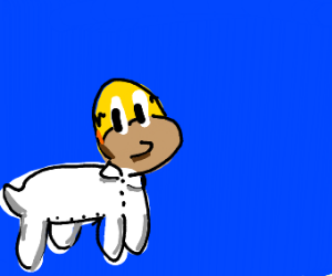 Homer Simpson with four stubby dog legs
