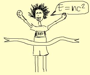 Einstein finishes running a marathon