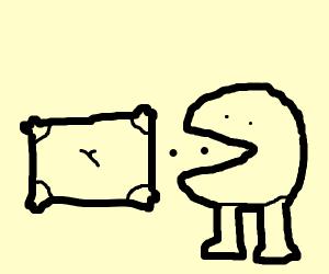 Pac man eats a pillow