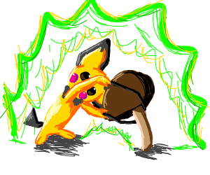 Pikachu is merged with a mushroom