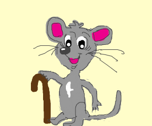Old mouse with cane