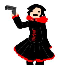 little red riding hood holding guns