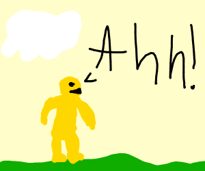 Yellow man screaming